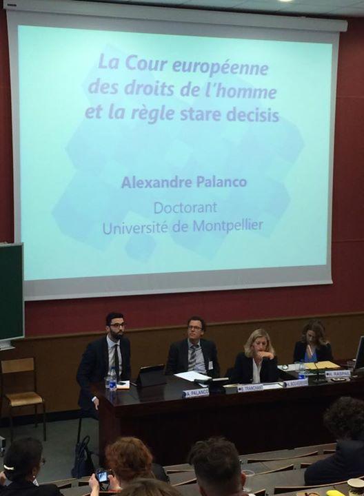 Alexandre Palanco, jeune chercheur sélectionné pour participer au colloque annuel de la SFDI, présente sa contribution à Strasbourg
